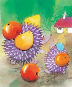 Zvedavé slniečko ilustrácia ježko