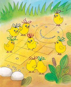 Zvedavé slniečko ilustrácia kuriatka