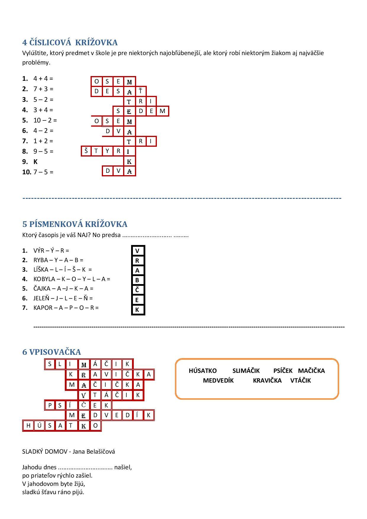 krížovky a úlohy