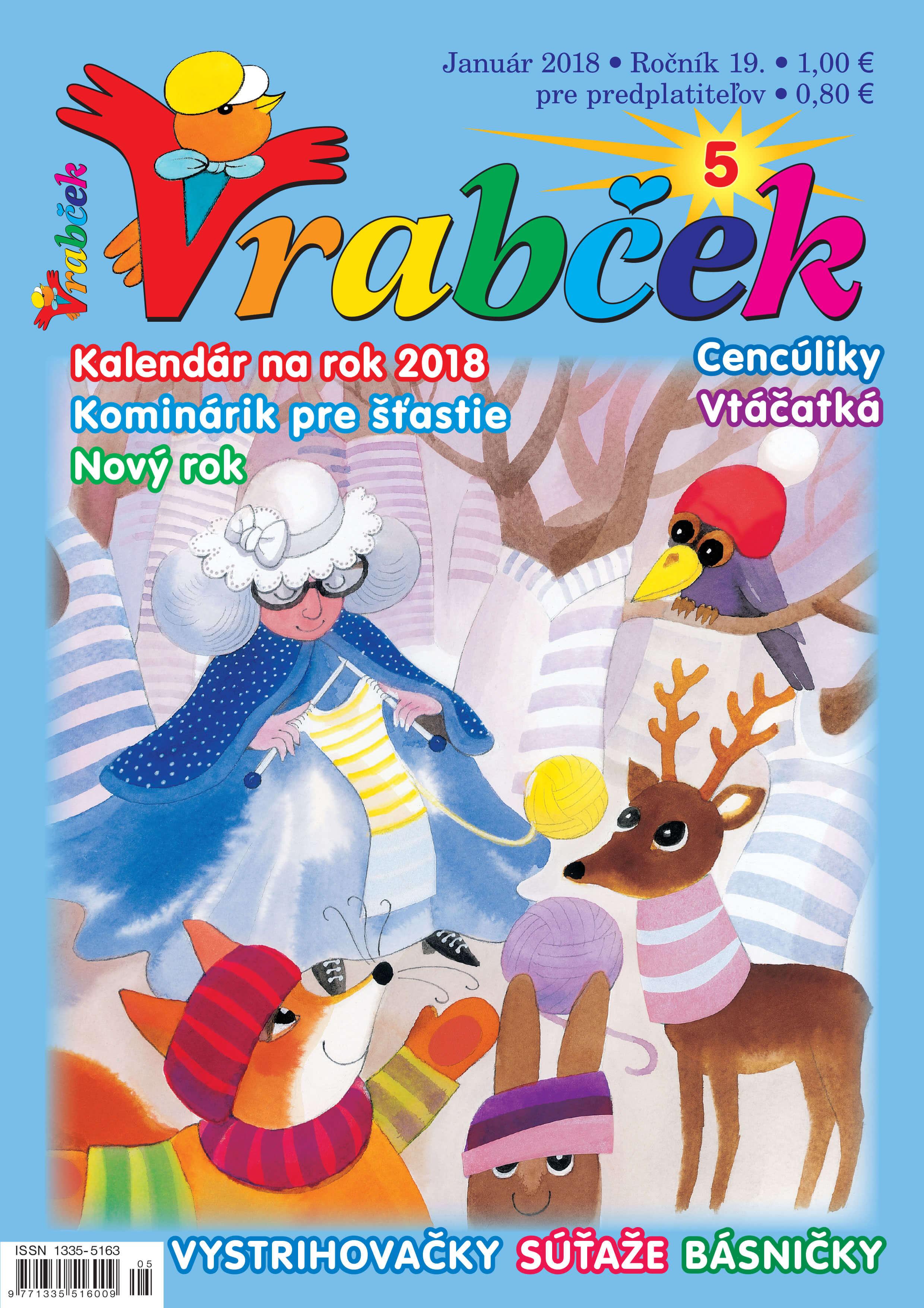 časopis Vrabček december 2017 obálkačasopis Vrabček január 2018 obálka